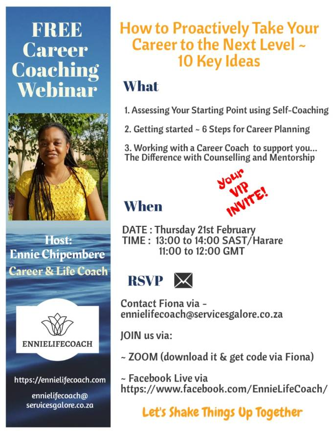 FREE Career Coaching Webinar 1 - How to Proactively Take Your Career to the Next Level - 10 Key Ideas